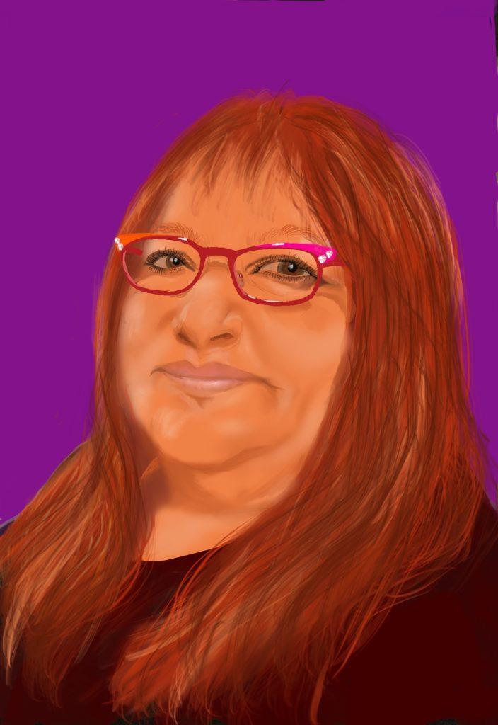 Mit første selvportræt nogen sinde. Her med min røde paryk.
